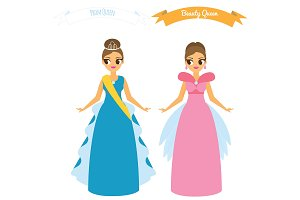 Females in long dress. Prom queen