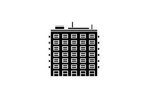 Multi storey building black icon concept. Multi storey building  vector sign, symbol, illustration.
