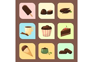 Chocolate various tasty sweets and candies sweet brown delicious gourmet sugar cocoa snack vector illustration