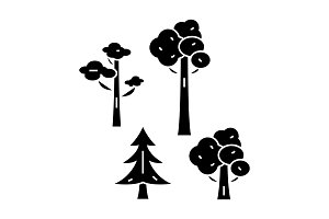 Park trees black icon concept. Park trees  vector sign, symbol, illustration.