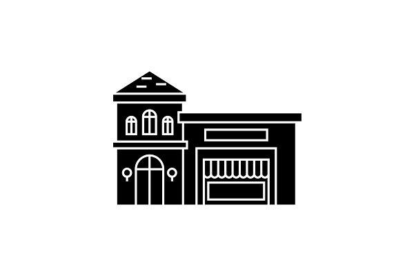 Restaurant building black icon conc…