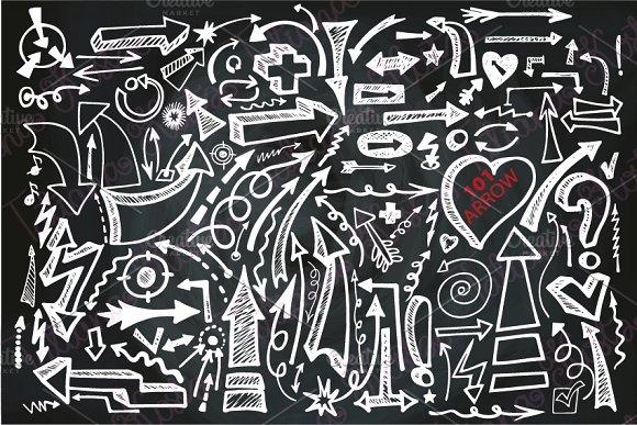 101Doodle arrow set.Chalk,blackboard - Objects