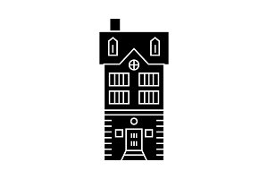 Townhouse village black icon concept. Townhouse village  vector sign, symbol, illustration.
