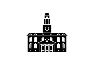 University building black icon concept. University building  vector sign, symbol, illustration.