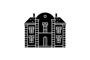 Villa castle black icon concept. Villa castle  vector sign, symbol, illustration.