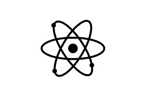 Web icon. Atom. vector illustration