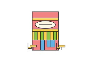 Cafe line icon concept. Cafe flat vector sign, symbol, illustration.