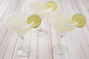 Margaritas on Wood Table