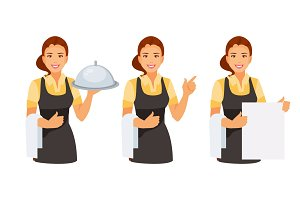 Waitress set vector