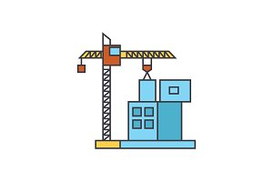 Construction crane building line icon concept. Construction crane building flat vector sign, symbol, illustration.