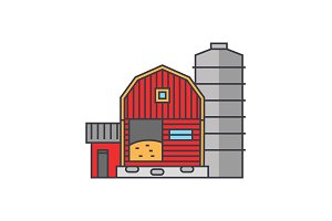 Farm line icon concept. Farm flat vector sign, symbol, illustration.