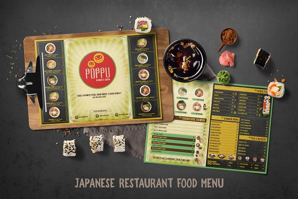 Japanese Restaurant Menu in Brochure Templates