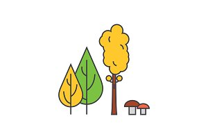 Forest trees line icon concept. Forest trees flat vector sign, symbol, illustration.