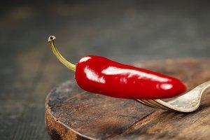 pepper on fork