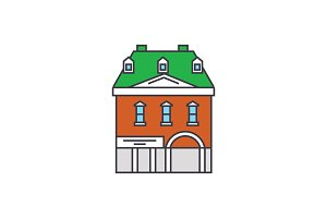 Historic building line icon concept. Historic building flat vector sign, symbol, illustration.