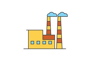 Industrial building line icon concept. Industrial building flat vector sign, symbol, illustration.