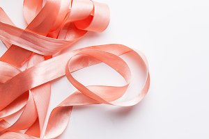 Shiny pink satin ribbon
