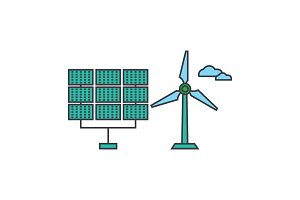 Renewable energy line icon concept. Renewable energy flat vector sign, symbol, illustration.