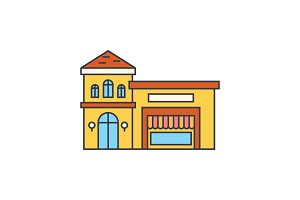 Restaurant building line icon concept. Restaurant building flat vector sign, symbol, illustration.