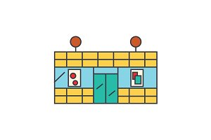 Supermarket line icon concept. Supermarket flat vector sign, symbol, illustration.