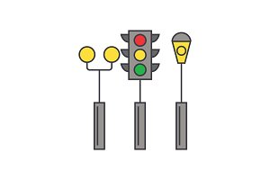 Traffic light line icon concept. Traffic light flat vector sign, symbol, illustration.