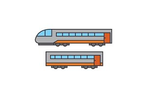 Train line icon concept. Train flat vector sign, symbol, illustration.