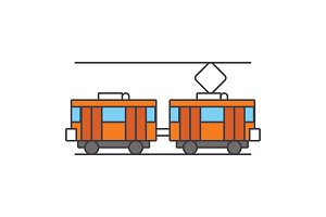 Tram line icon concept. Tram flat vector sign, symbol, illustration.