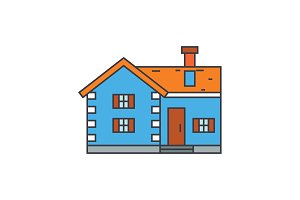 Village cottage line icon concept. Village cottage flat vector sign, symbol, illustration.