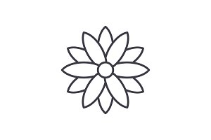 Calendula line icon concept. Calendula flat vector sign, symbol, illustration.