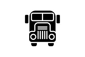 Web icon. School bus black on white
