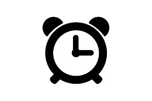 Web icon. Alarm clock black on white