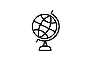 Web line icon. Globe black on white