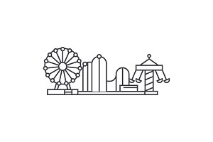 Amusement park thin line icon concept. Amusement park linear vector sign, symbol, illustration.