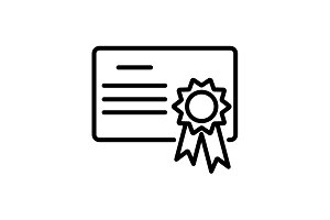Web line icon. Charter, certificate