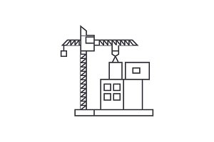 Construction crane building thin line icon concept. Construction crane building linear vector sign, symbol, illustration.