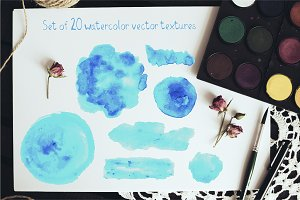 20 watercolor vector textures