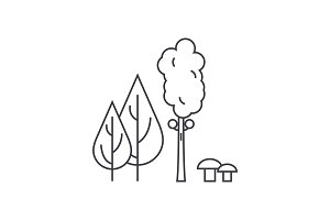 Forest trees thin line icon concept. Forest trees linear vector sign, symbol, illustration.