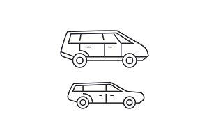 Minivan thin line icon concept. Minivan linear vector sign, symbol, illustration.
