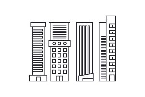 Skyscraper thin line icon concept. Skyscraper linear vector sign, symbol, illustration.