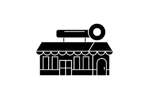 Fast food cafe building black icon concept. Fast food cafe building  vector sign, symbol, illustration.