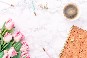 Pink tulips with coffee & stationary