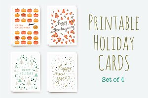 Printable Winter Holiday Cards