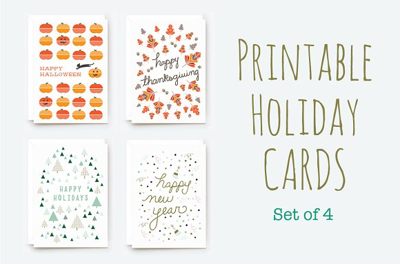 printable winter holiday cards card templates on creative market. Black Bedroom Furniture Sets. Home Design Ideas