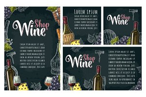 Set horizontal, vertical and square posters or labels for wine.