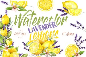 Watercolor Lavender Lemon Clip Arts