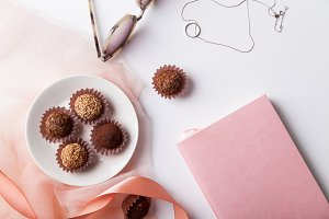 Variety of chocolate truffles