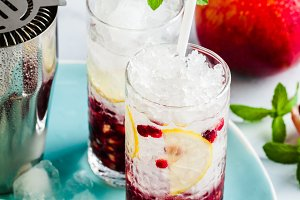 refreshing alcoholic drink with lemon and pomegranate seeds on a