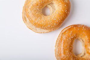 Fresh baked bagle buns with sesame seeds