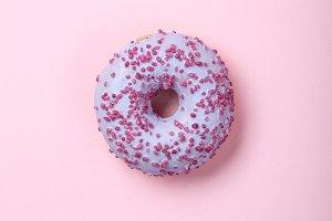 Sweet glazed raspbrery donut