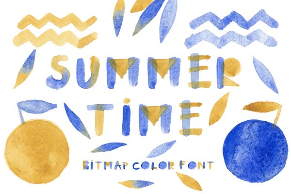 Display Fonts: Malena - Summertime bitmap color font